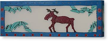 Canvas Print featuring the sculpture Moose Coming Home For Christmas by Robert Margetts