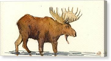 Moose Canvas Print by Juan  Bosco