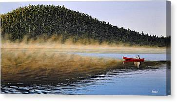 Moose Lake Paddle Canvas Print by Kenneth M  Kirsch