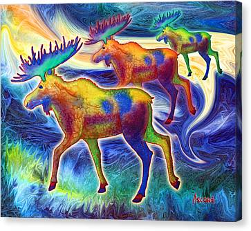 Canvas Print featuring the mixed media Moose Mystique by Teresa Ascone