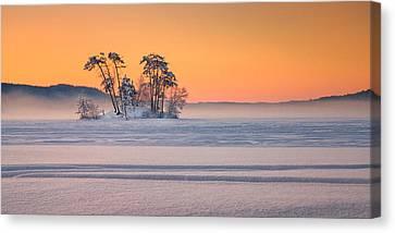 Moose Pond Winter Sunrise Canvas Print by Darylann Leonard Photography
