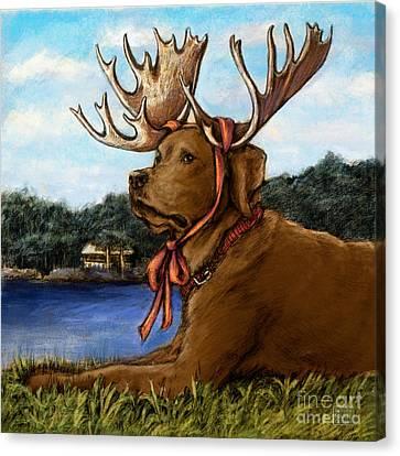 Moose Sighting - Chocolate Canvas Print by Kathleen Harte Gilsenan