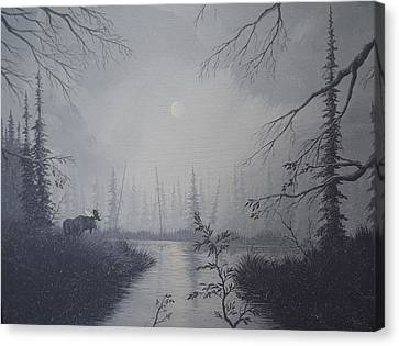 Canvas Print featuring the painting Moose Swanson River Alaska by Richard Faulkner