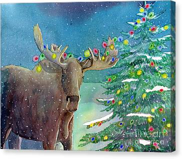 Moosey Christmas Canvas Print