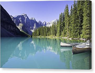 Moraine Lake And Valley Of The Ten Canvas Print by Ken Gillespie