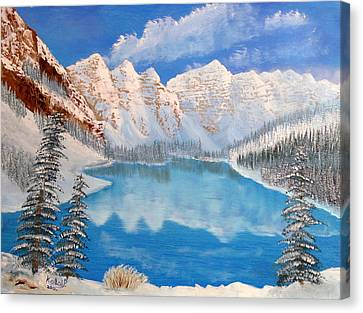 Moraine Lake By Winter Time  Canvas Print by Peter Kallai