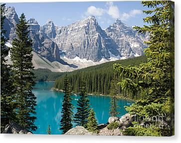 Canvas Print featuring the photograph Moraine Lake by Chris Scroggins