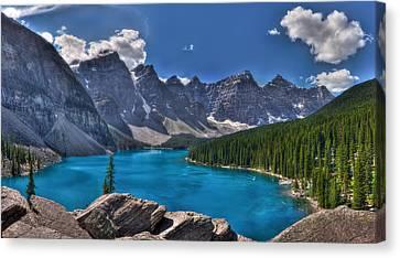 Mountain Reflection Lake Summit Mirror Canvas Print - Moraine Lake Hdr Panorama by Matt Dobson
