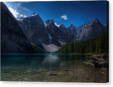 Mountain Reflection Lake Summit Mirror Canvas Print - Moraine Lake by Matt Dobson