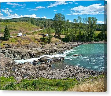 Moricetown Falls And Canyon Fishing Operation On The Bulkley River In Moricetown-bc Canvas Print by Ruth Hager