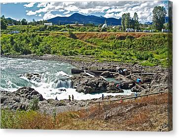 Moricetown Falls And Canyon Fishing Operation On The Bulkley River In Moricetwown-british Columbia  Canvas Print by Ruth Hager