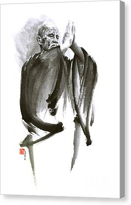 Morihei Ueshiba Sensei Aikido Martial Arts Art Japan Japanese Master Sum-e Portrait Founder Canvas Print