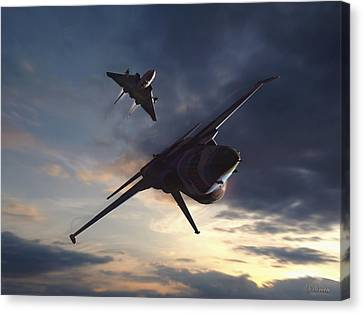 Morning Aerobatics Canvas Print by Dorian Dogaru