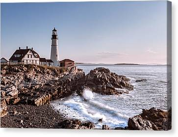 Rocky Maine Coast Canvas Print - Morning At The Lighthouse by Eduard Moldoveanu