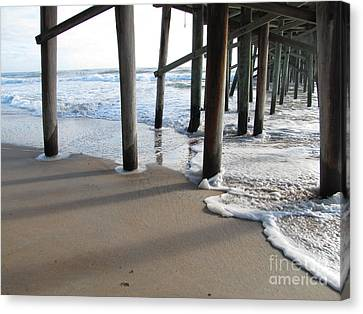 Morning At The Pier Canvas Print by Michele Napier-Berg