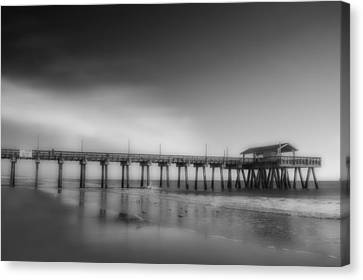 Canvas Print featuring the photograph Morning At Tybee Island Pier by Frank Bright