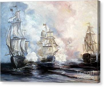 Canvas Print featuring the painting Morning Battle by Lee Piper