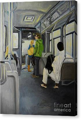 Morning Bus Canvas Print by Reb Frost
