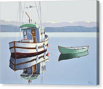 Morning Calm-fishing Boat With Skiff Canvas Print by Gary Giacomelli