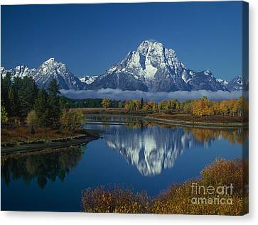 Morning Cloud Layer Oxbow Bend In Fall Grand Tetons National Park Wyoming Canvas Print by Dave Welling