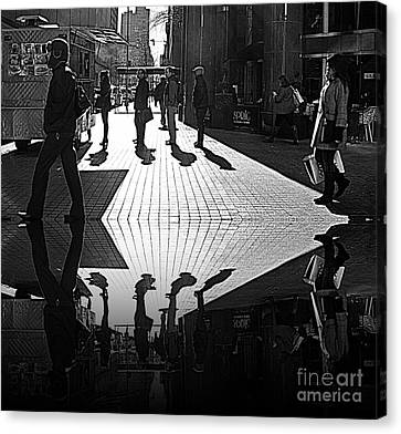 Canvas Print featuring the photograph Morning Coffee Line On The Streets Of New York City by Lilliana Mendez