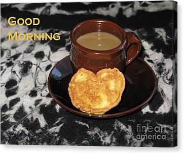 Morning Coffee Served With Love Canvas Print by Ausra Huntington nee Paulauskaite