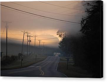 Morning Commute - Foggy Sunrise Canvas Print