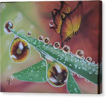 Canvas Print featuring the painting Morning Dew by Dianna Lewis