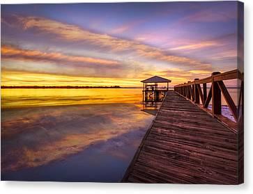 Morning Dock Canvas Print by Debra and Dave Vanderlaan