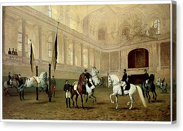Morning Exercise In The Winter Riding School Canvas Print by Julius von Blass
