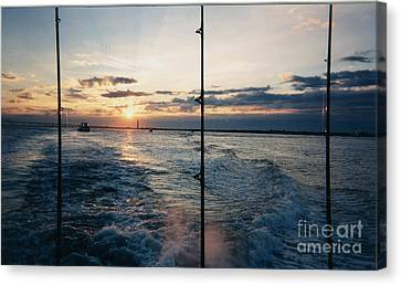 Boats In Water Canvas Print - Morning Fishing by John Telfer