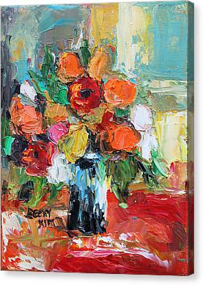 Pallet Knife Canvas Print - Morning Flowers by Becky Kim
