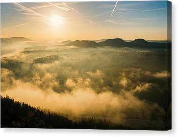 Morning Fog In The Saxon Switzerland Canvas Print