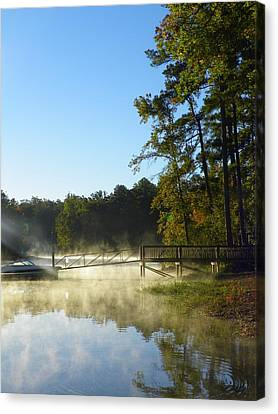 Stick Canvas Print - Morning Fog On The Lake 3 by Lisa Wooten