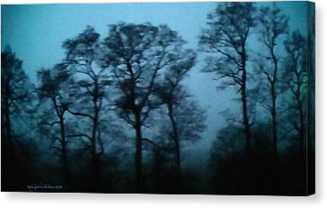 Morning Fog Outside The Night Train Canvas Print by Aleksander Rotner