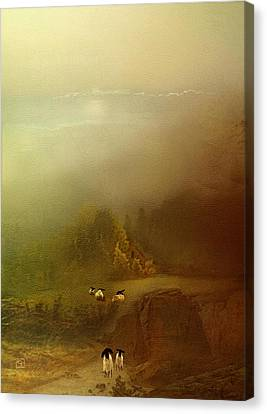 Morning Fog Sheep Canvas Print
