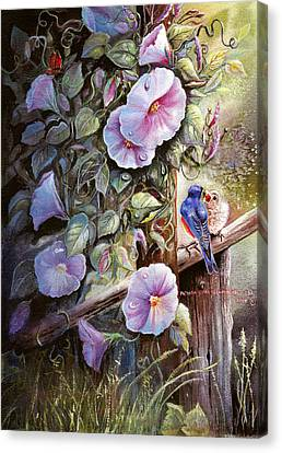 Canvas Print featuring the painting Morning Glories And Bluebirds. by Patricia Schneider Mitchell