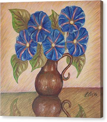 Morning Glories With Pink Background Canvas Print by Claudia Cox