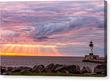Duluth Canal Park Canal Park Lighthouse Lighthouse Lake Superior Minnesota Canvas Print - Morning Has Broken by Mary Amerman