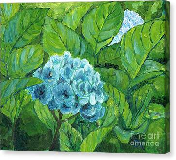 Canvas Print featuring the painting Morning Hydrangea by Jingfen Hwu