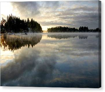 Morning Lake Reflection Canvas Print by Peter Mooyman