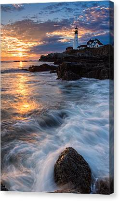 Morning Light At Portland Head Canvas Print