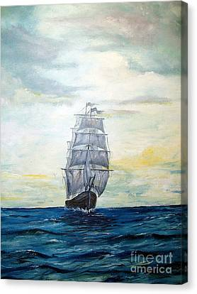 Canvas Print featuring the painting Morning Light On The Atlantic by Lee Piper