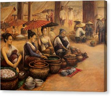 Morning Market Canvas Print by Sompaseuth Chounlamany