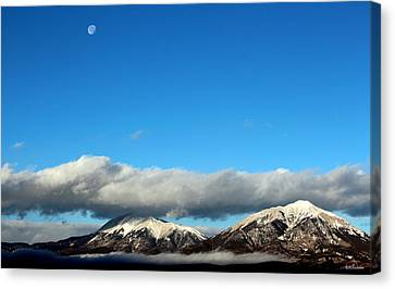 Canvas Print featuring the photograph Morning Moon Over Spanish Peaks by Barbara Chichester