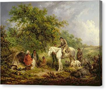 Romany Canvas Print - Morning, Or The Benevolent Sportsman by George Morland