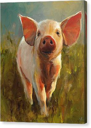 Piglet Canvas Print - Morning Pig by Cari Humphry