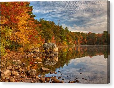 Morning Reflection Of Fall Colors Canvas Print by Jeff Folger