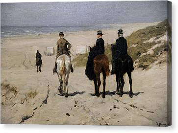 Morning Ride Along The Beach Canvas Print