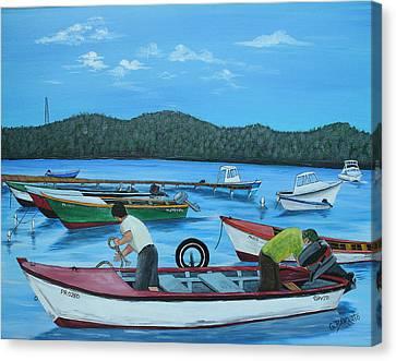 Morning Ritual Canvas Print by Gloria E Barreto-Rodriguez